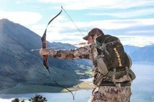 A picture of Matt Guedes with his Bear Archery Take Down Recurve