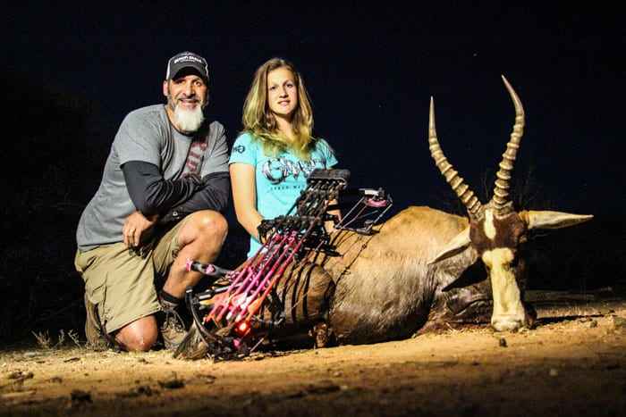 Proud father and happy daughter with her first pass-through and first blesbok.