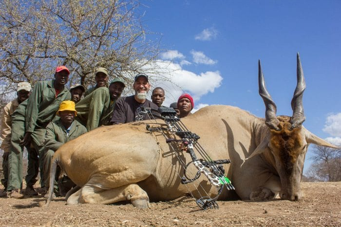 Matt is with the entire staff of trackers and skinners and his huge Eland Bull